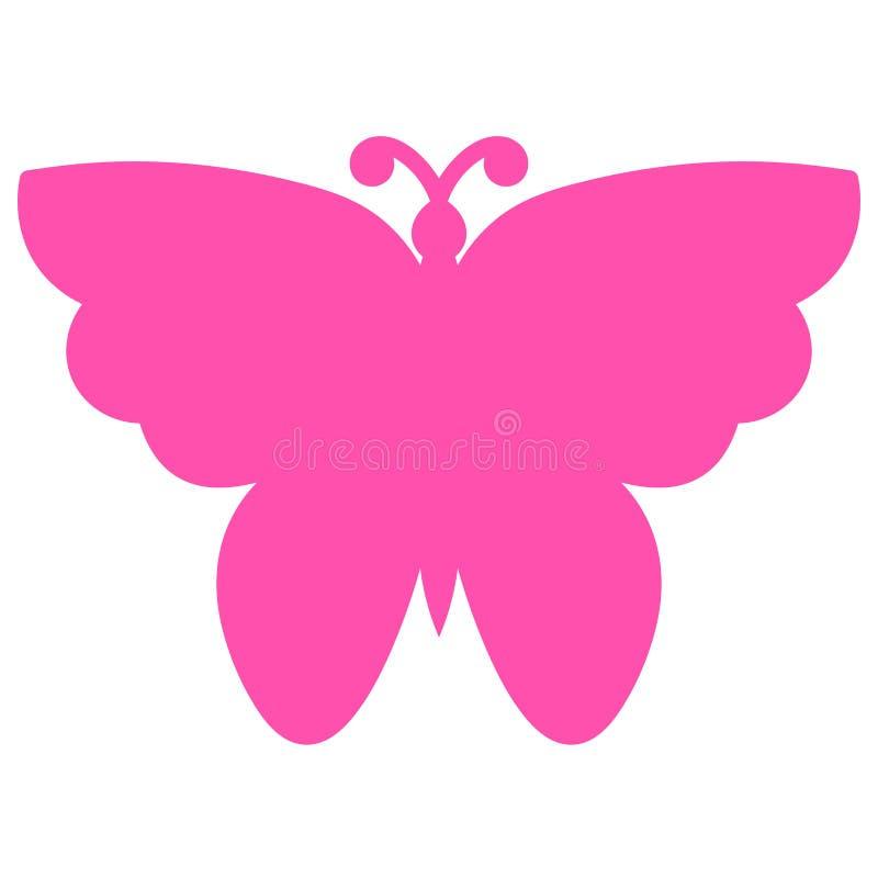 Mariposa rosada aislada en el fondo blanco Icono, logotipo stock de ilustración