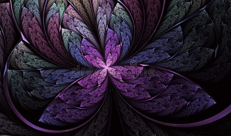 Mariposa sim?trica multicolora en estilo del vitral stock de ilustración