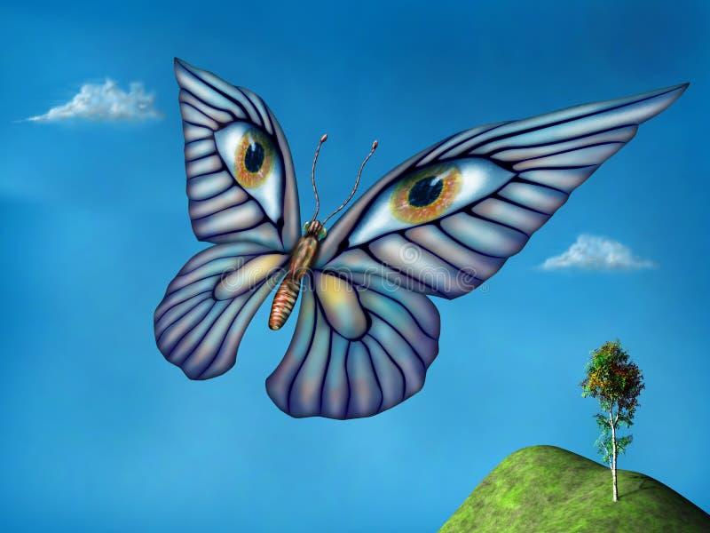 Mariposa surrealista stock de ilustración