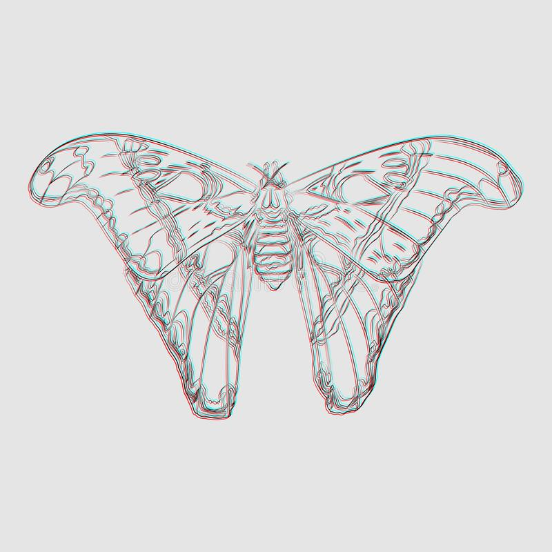 Mariposa surrealista en un fondo gris imágenes de archivo libres de regalías