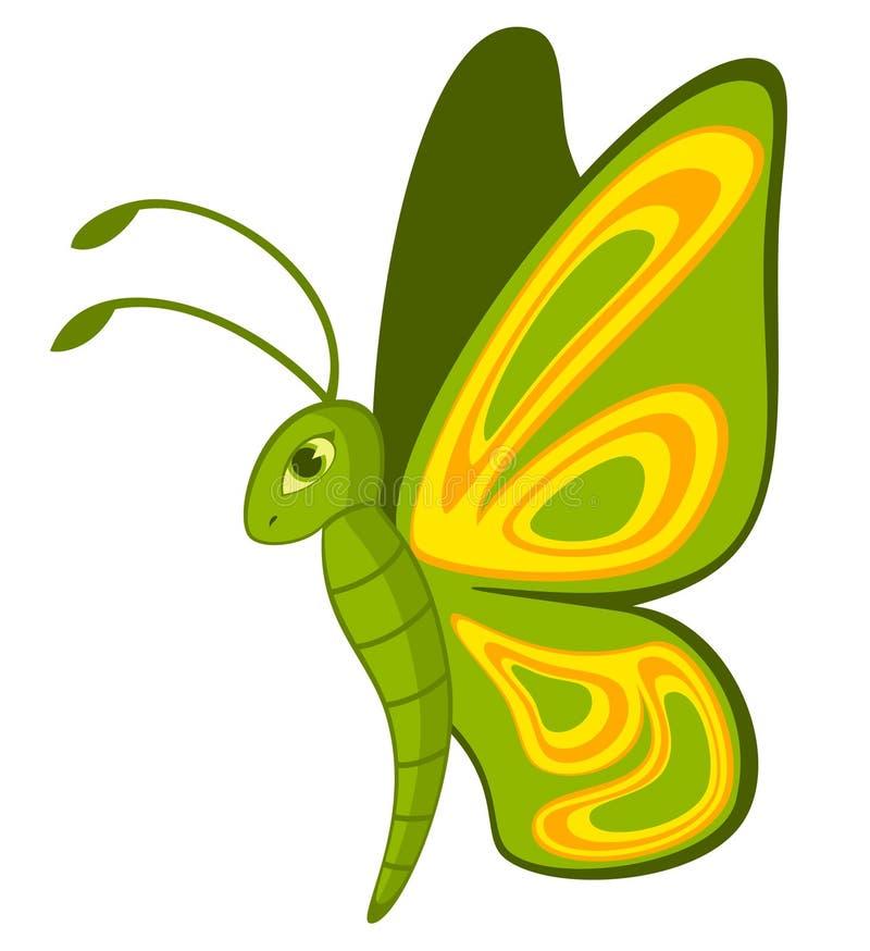 Mariposa tropical de la historieta divertida. stock de ilustración