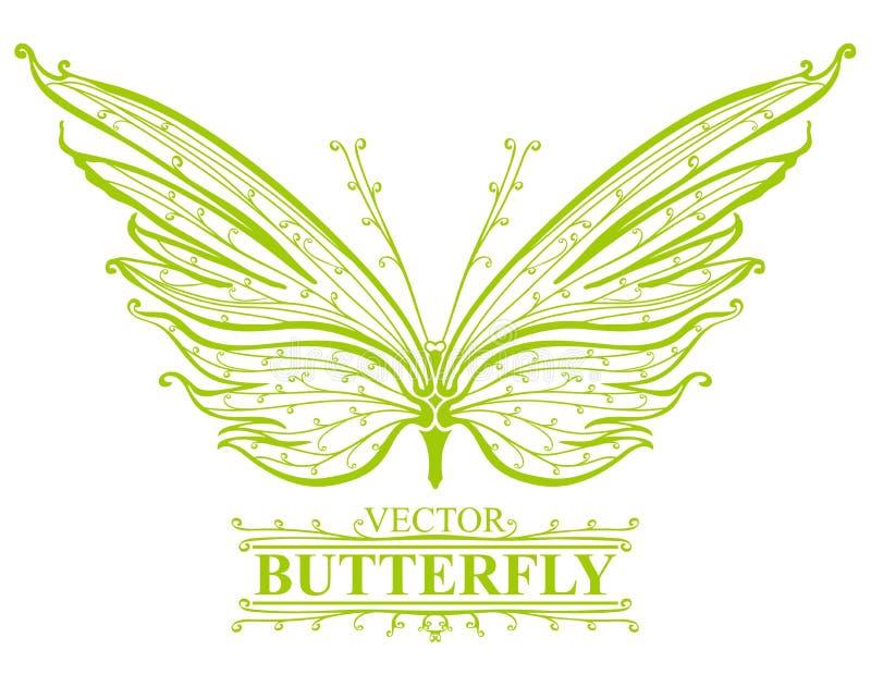 Mariposa verde. ilustración del vector