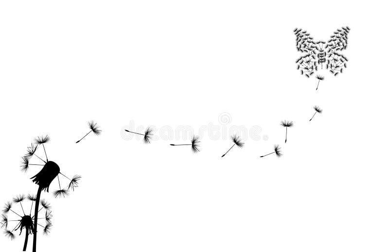 Mariposa y dos dientes de león en blanco stock de ilustración