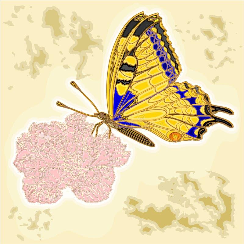 Mariposa y flor como vector del vintage del grabado libre illustration