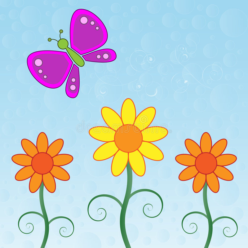 Mariposa y flores stock de ilustración