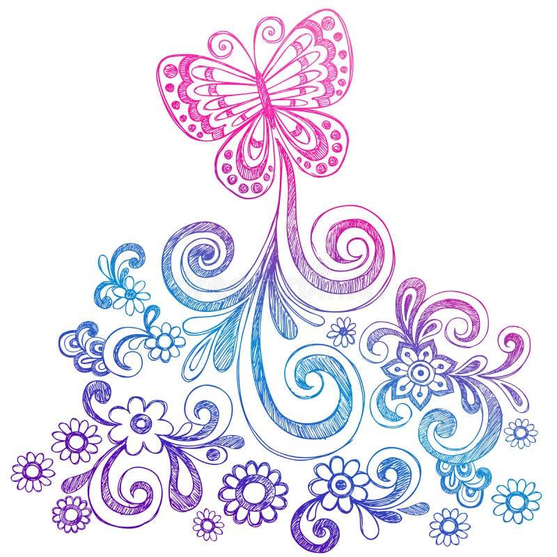 Mariposa y vector del Doodle de los remolinos libre illustration