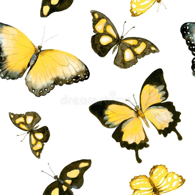 Mariposas amarillas Modelo inconsútil watercolor ilustración del vector
