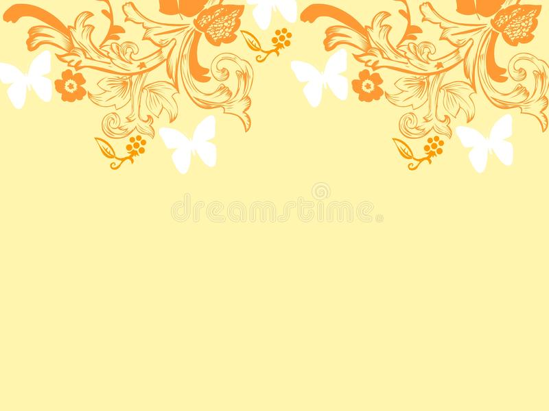 Mariposas anaranjadas de los fondos de las tarjetas de las flores de la repetición del fondo ilustración del vector