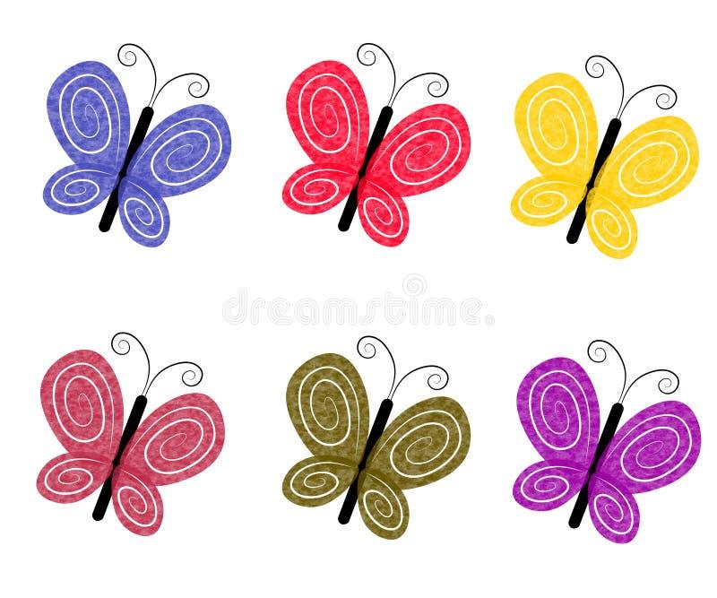 Mariposas coloridas Textured stock de ilustración
