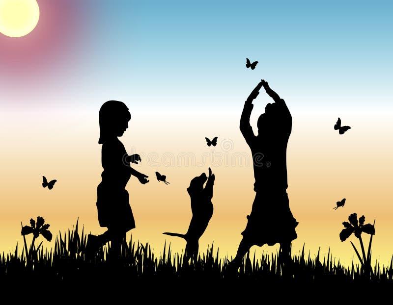 Mariposas de cogida stock de ilustración
