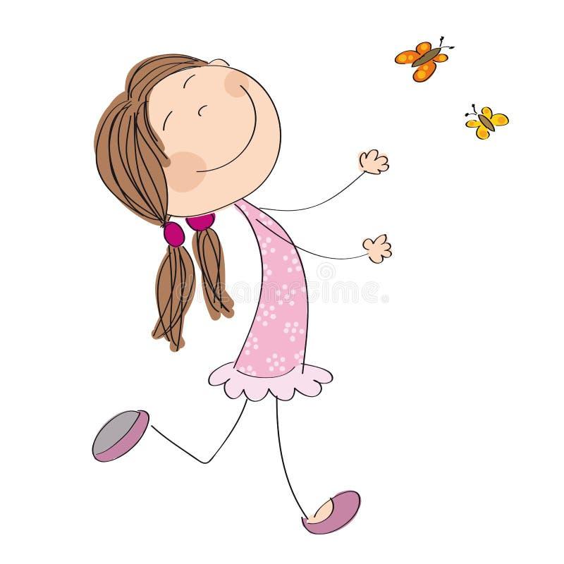 Mariposas de funcionamiento y de cogida de la niña feliz ilustración del vector