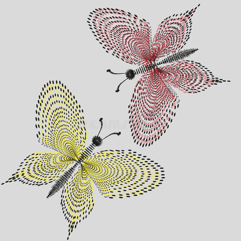 Mariposas del ejemplo dos de encaje stock de ilustración