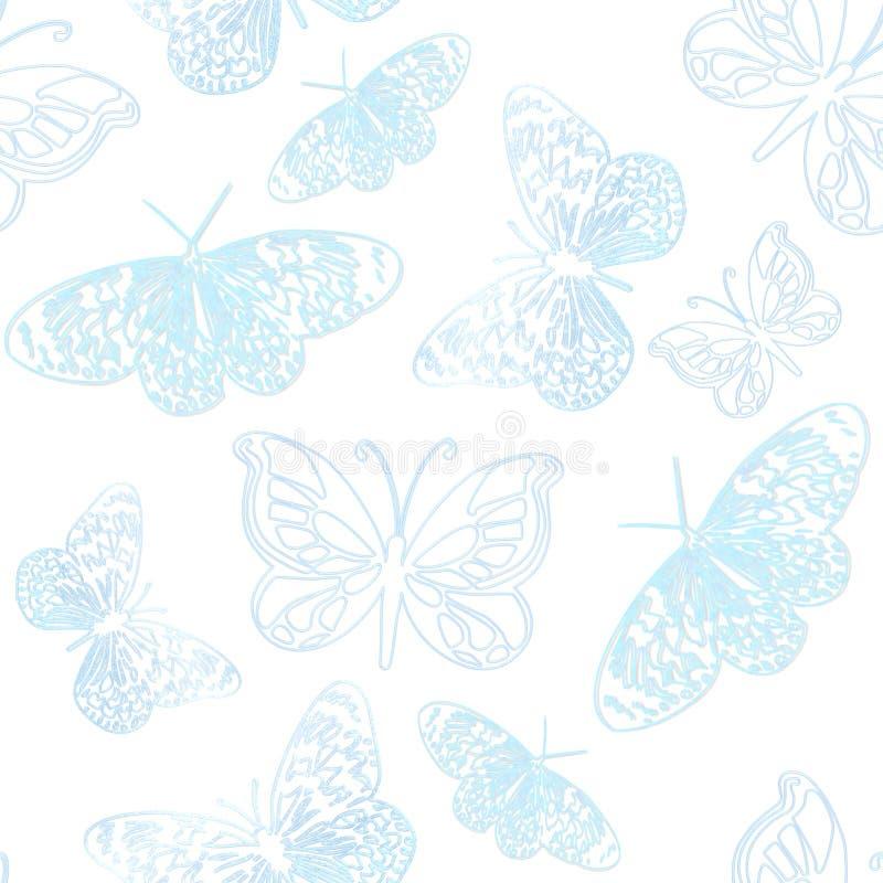 Mariposas del fondo azules ilustración del vector
