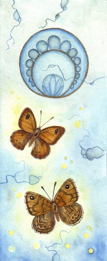 Mariposas del nouveau del arte ilustración del vector