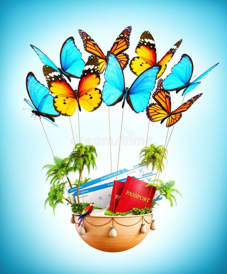 Mariposas del vuelo que llevan una cesta con la isla tropical fotografía de archivo libre de regalías
