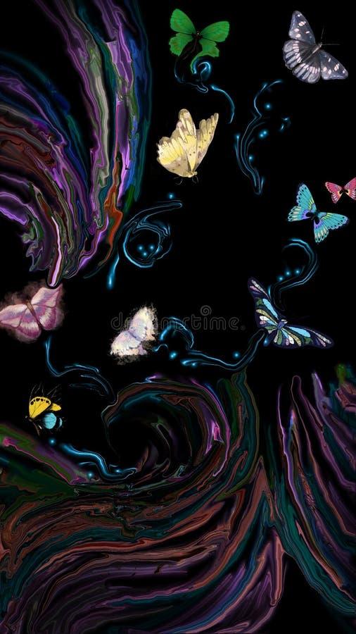 Mariposas en el cielo ácido negro fotos de archivo