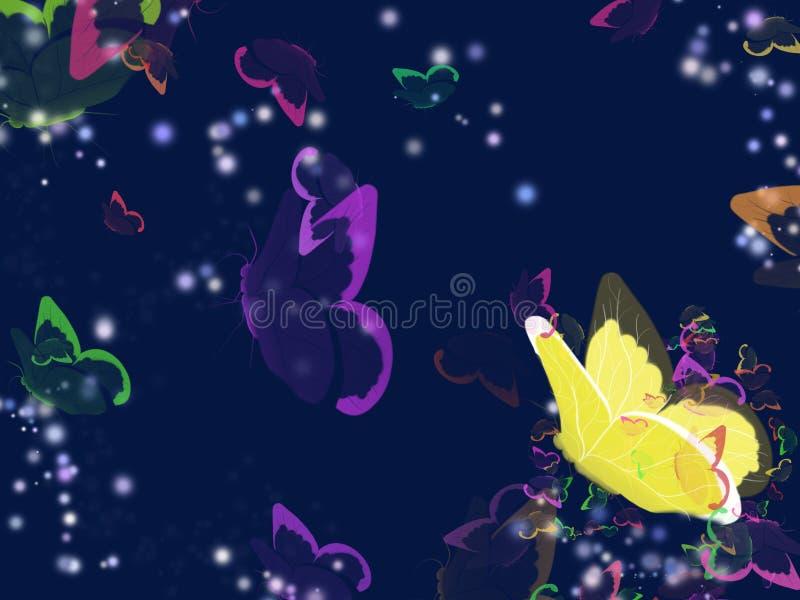 Mariposas en el fondo de la noche ilustración del vector