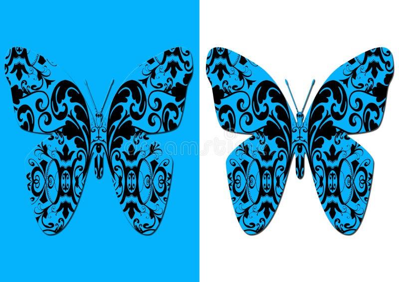 Mariposas estilizadas del damasco stock de ilustración