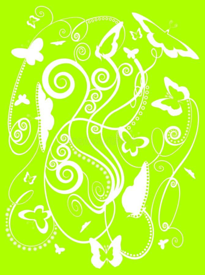 Mariposas estilizadas del resorte en verde stock de ilustración