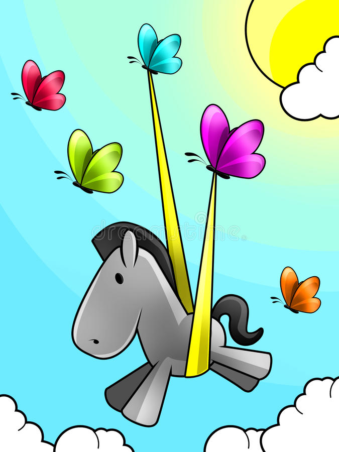 Mariposas fijado libres un caballo del bebé fotografía de archivo libre de regalías