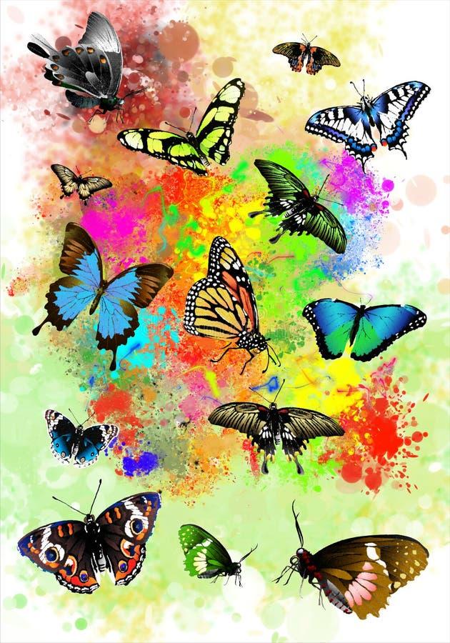 Mariposas hermosas en la pintura de espray colorida libre illustration