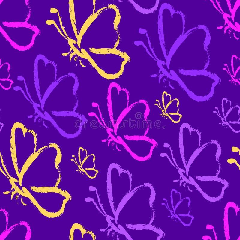 Mariposas inconsútiles del drenaje de la mano en colores púrpuras del protón fotos de archivo libres de regalías