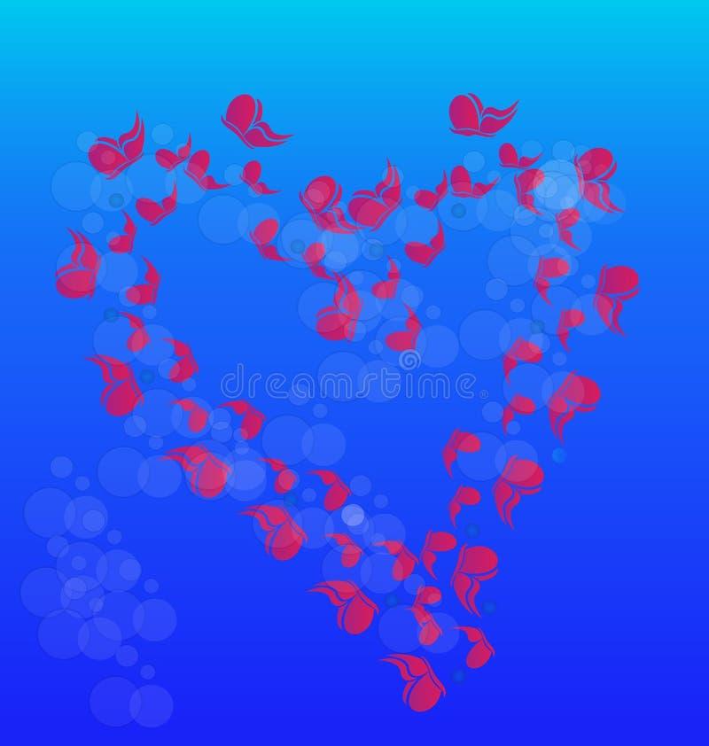 Mariposas que forman un corazón cariñoso, vector del icono libre illustration