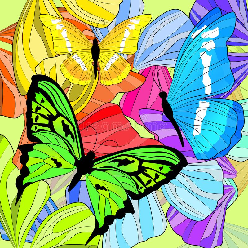 Mariposas y alas coloreadas brillantes de la mariposa libre illustration