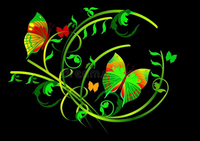 Mariposas y desfiles florales en fondo negro stock de ilustración