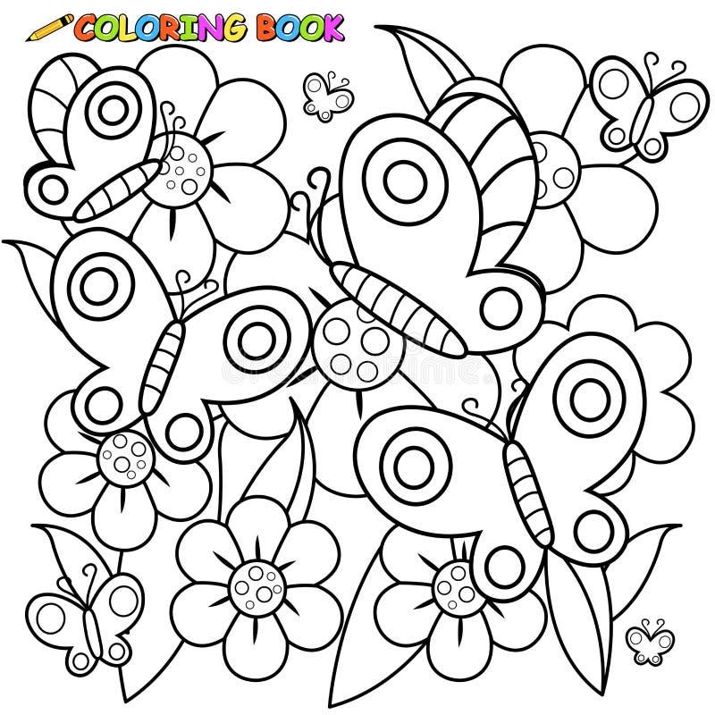 Mariposas Y Flores De La Página Del Libro De Colorear Ilustración ...