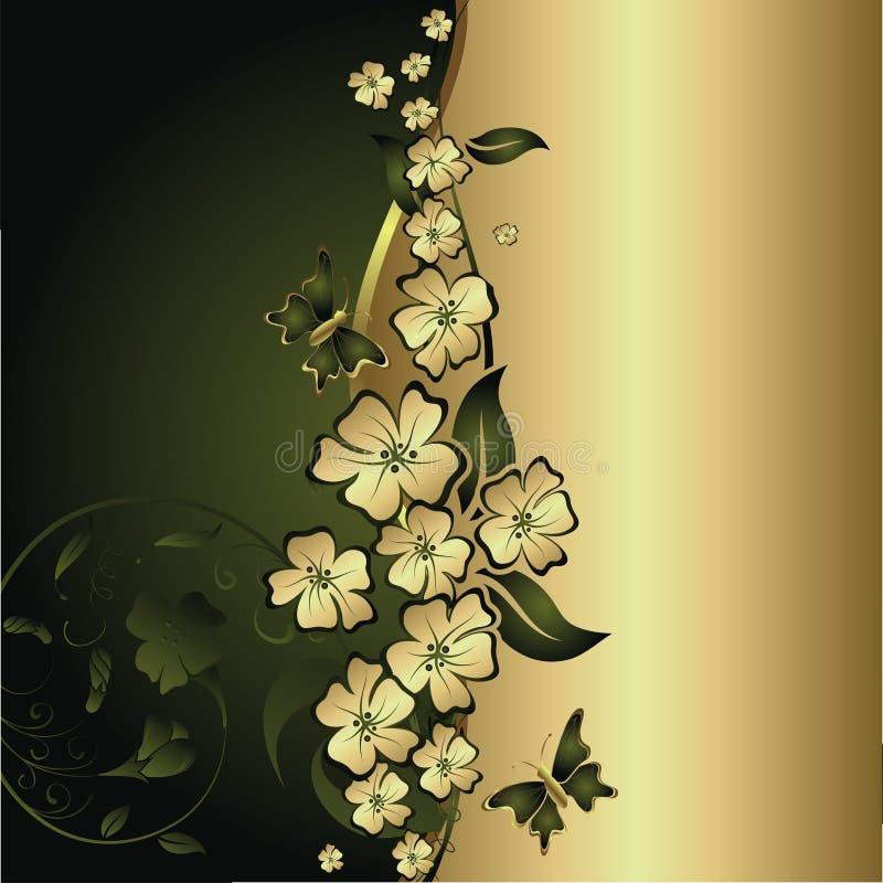Mariposas y flores del oro stock de ilustración