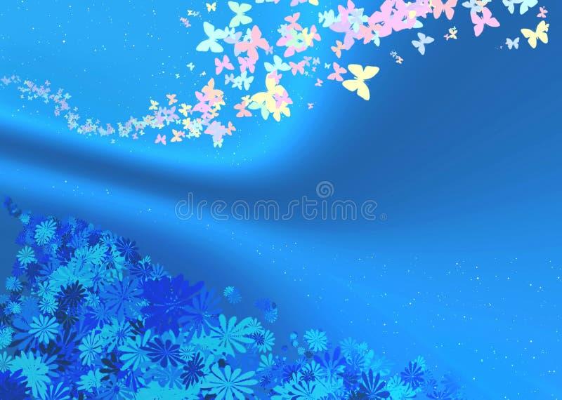 Mariposas y flores en un fondo azul libre illustration