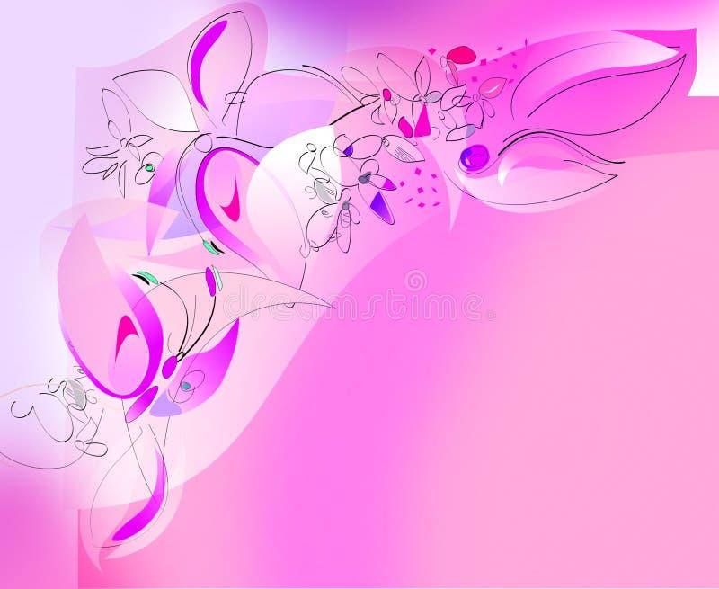 Mariposas y flores - esquina superior izquierdo libre illustration