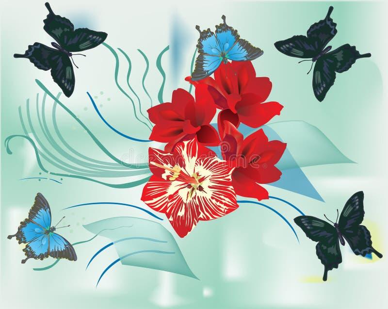 Mariposas y flores rojas del lirio ilustración del vector