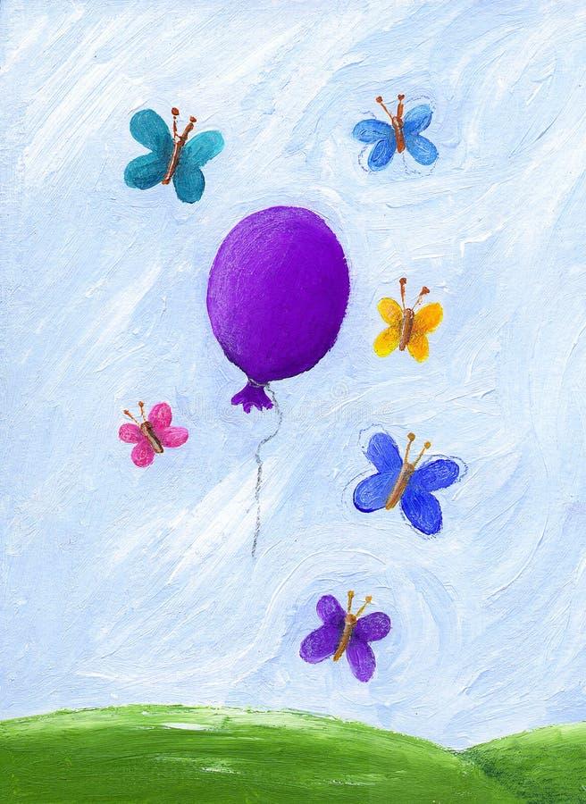 Mariposas y globo púrpura stock de ilustración