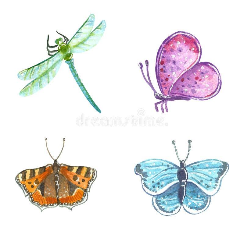Mariposas y libélula, ejemplo exhausto del jardín de la acuarela de la mano ilustración del vector