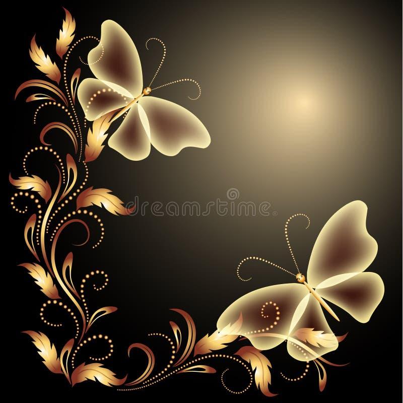 Mariposas y ornamento de oro stock de ilustración