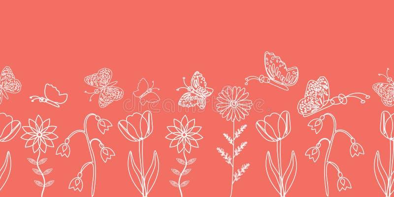 Mariposas y siluetas blancas delicadas de la flor de la primavera en un fondo rosado Dise?o de la frontera libre illustration