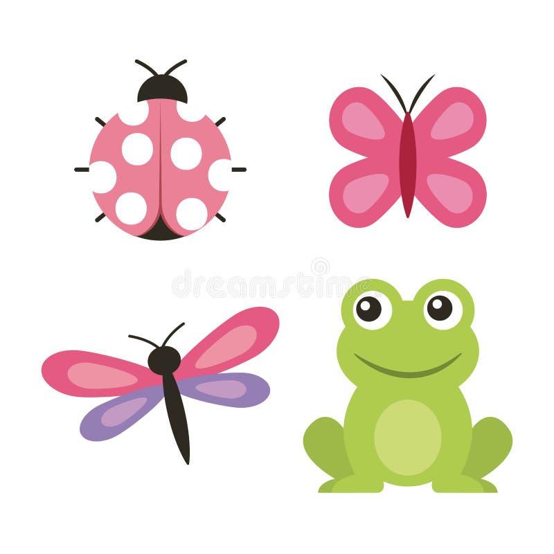 Mariquita linda de la mariposa de la libélula de la rana libre illustration