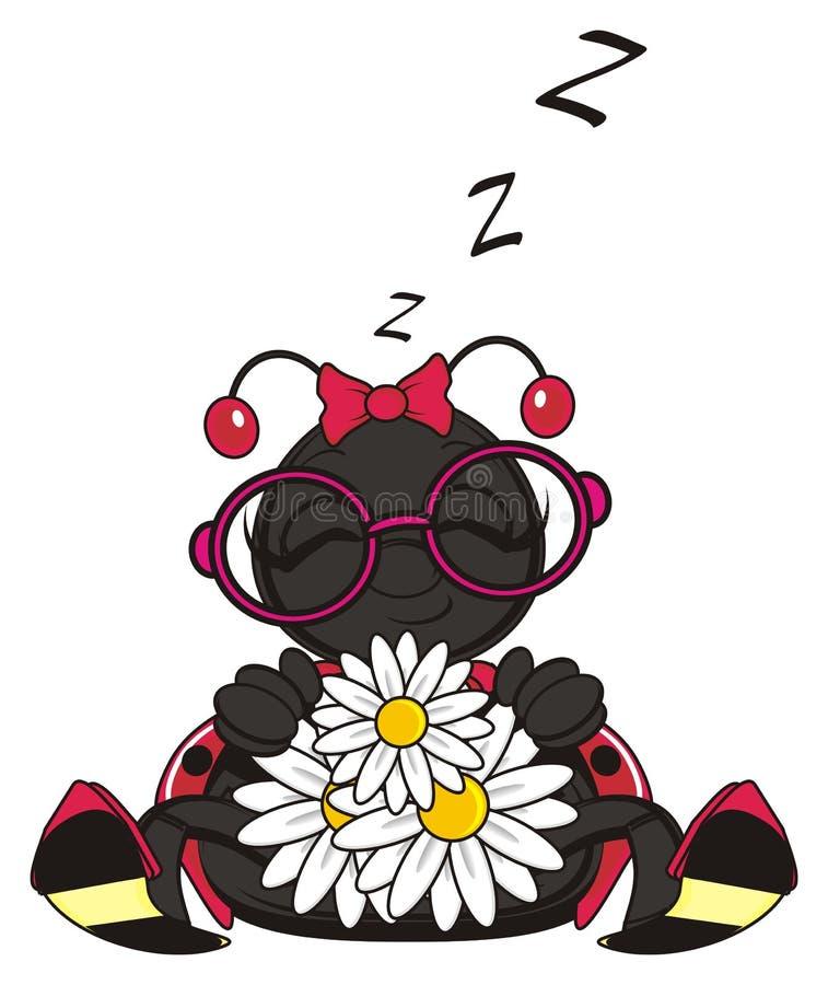 Mariquita que duerme con las flores stock de ilustración