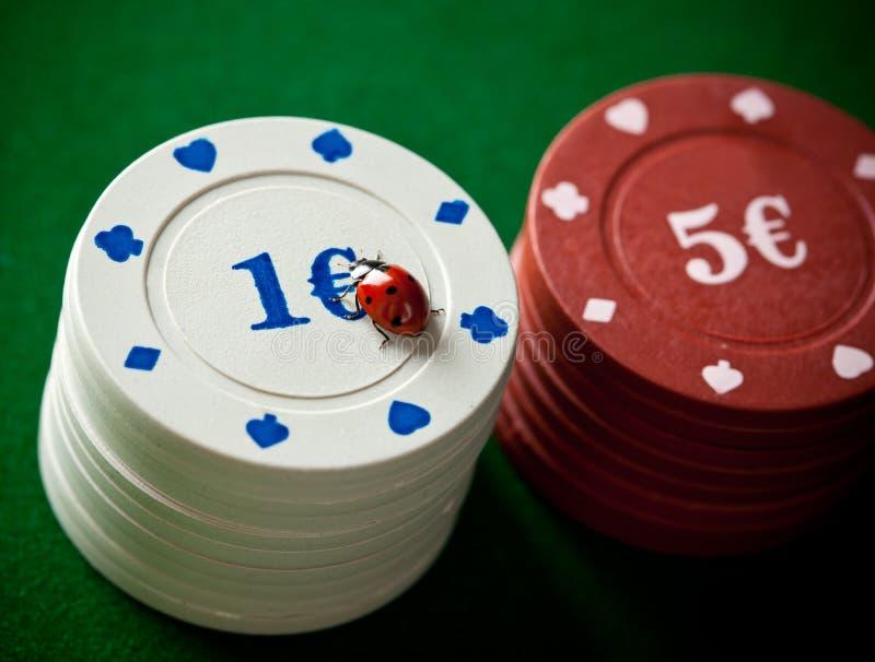Mariquitas con las fichas de póker imagen de archivo libre de regalías