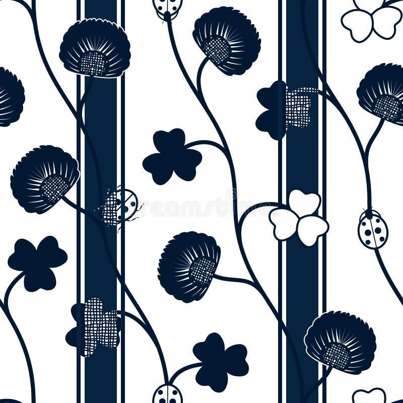 Mariquitas y cintas azules del trébol de la silueta del modelo inconsútil en un fondo blanco libre illustration
