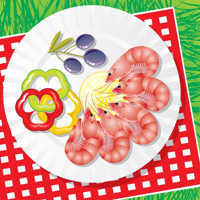 Marisco com vegetais ilustração do vetor