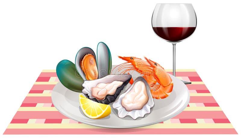 Marisco e vinho tinto na tabela ilustração do vetor
