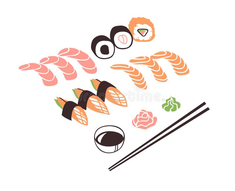 Marisco exhausto del ejemplo de la mano Cena asiática creativa del trabajo de arte de la tinta Rollo de sushi real del dibujo del stock de ilustración