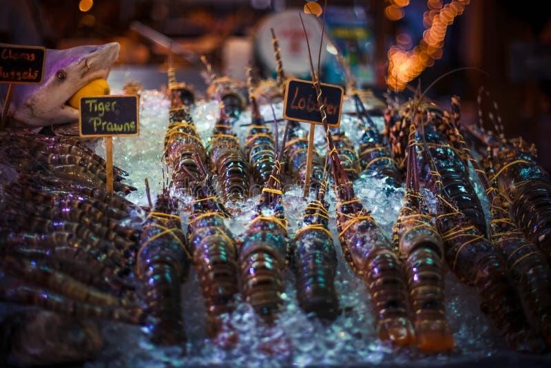 Marisco fresco no gelo no mercado de peixes fotos de stock