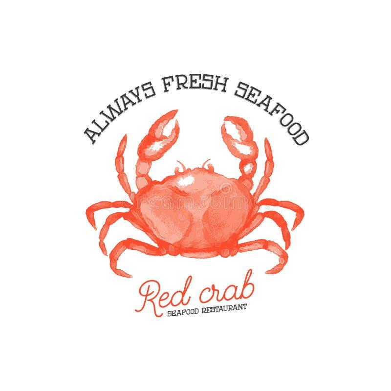 Marisco fresco Restaurante vermelho do marisco do caranguejo ilustração royalty free