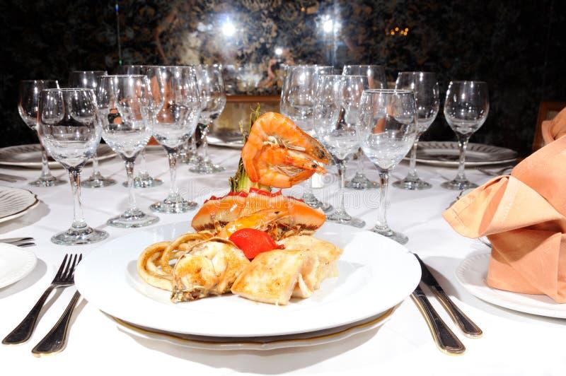 Marisco no restaurante luxuoso fotografia de stock royalty free