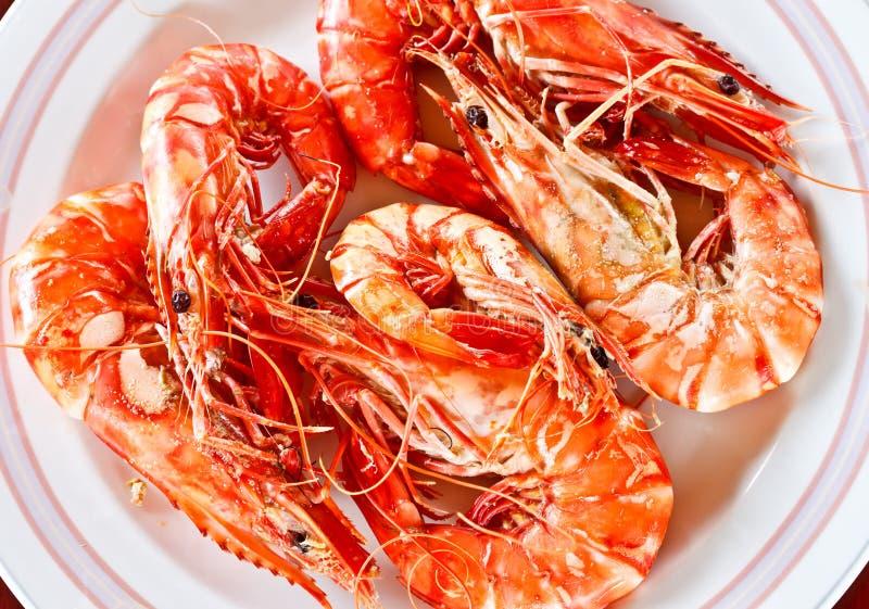 Marisco tailandês, camarões cozinhados deliciosos 2 foto de stock royalty free
