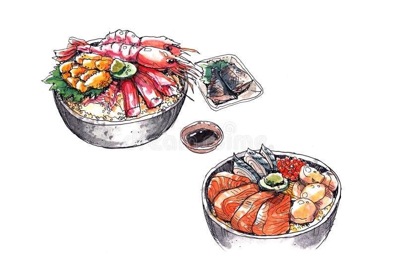 Mariscos de Hokkaido, ejemplo japonés de la acuarela de la comida stock de ilustración